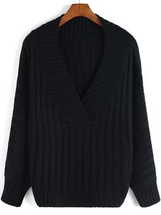 Black V Neck Striped Pattern Sweater