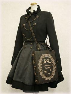 short jacket, corset skirt, and book bag