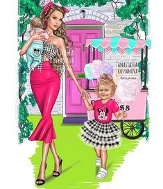 Este posibil ca imaginea să conţină: 2 persoane, text Mother Daughter Art, Mother Daughter Matching Outfits, Mother Daughter Fashion, Mother Art, Pop Art Wallpaper, Fashion Wallpaper, Princess Illustration, Illustration Artists, Fashion Illustration Dresses