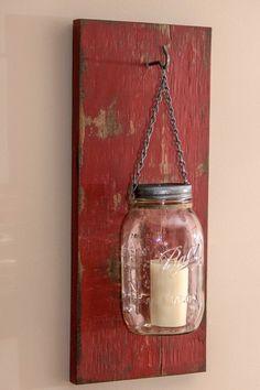 Rustic Mason Jar Wood Wall Sconce Distressed Red/Rustic Candle Wall Sconce/ Mason Jar Sconce/Mason Jar Candle Holder by BCIndustrialTreasure on Etsy https://www.etsy.com/listing/227009415/rustic-mason-jar-wood-wall-sconce