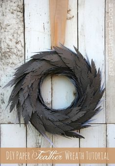 wreath halloween game of thrones black feathers DIY Paper Feather Wreath Tutorial Diy Wreath, Grapevine Wreath, Wreath Ideas, Christmas Diy, Christmas Wreaths, Christmas Stuff, Diy Paper, Paper Crafts, Paper Feathers