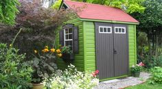 way to spruce up a boring plastic garden shed