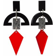 Toolally - Half Moon Drops Black with Stone & Chilli Red (1 575 UAH) ❤ liked on Polyvore featuring jewelry, earrings, red stone earrings, retro earrings, geometric earrings, tool jewelry and half moon earrings