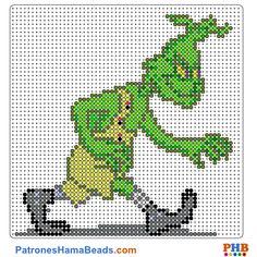 Grinch plantilla hama bead. Descarga una amplia gama de patrones en formato PDF en www.patroneshamabeads.com