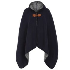 Dorothy Perkins Navy Hooded Toggle Cape ($37) ❤ liked on Polyvore featuring outerwear, blue, hooded cape coat, blue cape coat, blue cape, cape coat and hooded cape