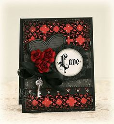 An alluringly gorgeous black and red Valentine's Day card. #paper_crafting #cards #scrapbooking