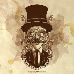 Pintados à mão homem ilustração steampunk