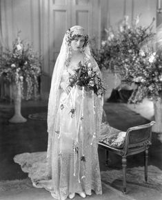 """Chic Vintage Bride – Silent Film Star Dolores Costello """"The Goddess"""" and Drew Barrymore's grandmother. Chic Vintage Brides, Vintage Wedding Photos, 1920s Wedding, Vintage Bridal, Wedding Bride, Wedding Gowns, Vintage Weddings, Wedding Tips, Wedding Shot"""