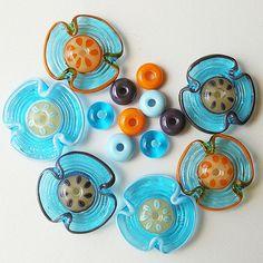 Lampwork Flower Glass Beads, Set of Handmade Turquoise, Orange, Metallic, Sky Blue Beads (18 )