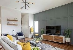Creating an accent wall is an affordable way to completely transform any room with more than just paint color. Check out fifteen inspiring accent wall ideas! Accent Walls In Living Room, Accent Wall Bedroom, Curtains Living, Living Rooms, Living Spaces, Accent Wall Colors, Wall Accents, All White Room, Freundlich