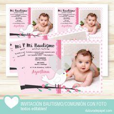 Pajarita rosa nena Invitacion para imprimir con foto