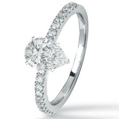 0.93 Carat Pear Cut / Shape 14K White Gold Classic Prong Set Diamond Engagement Ring ( F-G Color , SI1 Clarity ) | Your #1 Source for Jewelry and Accessories