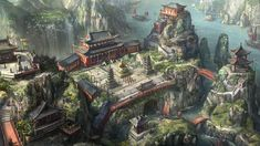 High Fantasy, Art School, Concept Art, City, Drawings, World, Building, Painting, Architecture