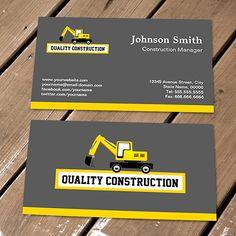Excavator construction business cards make your own business card construction manager yellow excavator business card templates fbccfo Gallery