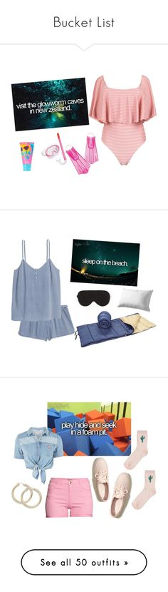 """""""Bucket List"""" by sassyladies ❤ liked on Polyvore featuring Brigitte, Speedo, Topshop, H&M, Hollister Co., Aéropostale, Louis Vuitton, Karl Lagerfeld, Eugenia Kim and Havaianas"""