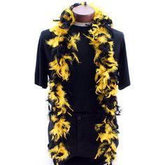40g Chandelle Feather Boa: Black & Yellow