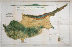 Topology and geology of Cyprus    From: Die insel Cypern, ihrer Physischen und Organischen Natur nach mit Rücksicht auf ihre frühere Geschichte. By Franz Unger and Theodor Kotschy.