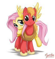 Mlp: Fluttershy and Big Mac, sooo adorable <3