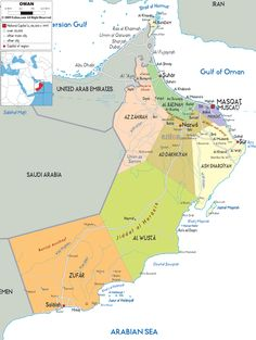 Map of Oman - a gulf country in the Middle East.