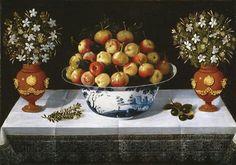 Frutero de Delft y dos floreros, 1642. Tomás Yepes. Barroco español, escuela levantina.