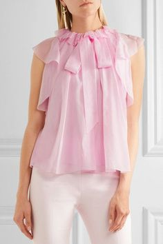 Pink silk-chiffon Button-fastening keyhole at back 100% silk Dry clean Imported