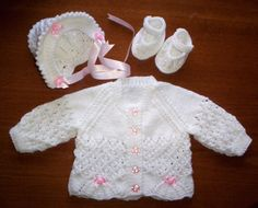 "Hand Knitted Cardigan/Sweater Set, Newborn Baby girl or 19/21"" Reborn by…"
