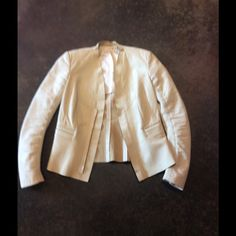 Rick Owens white leather jacket 42 6 This has had tags removed however it is a Rick Owens it is priced as pedestrian oh so lucky for you... Perhaps worn once this is perfect like new. Price is firm no trades or offers Rick Owens Jackets & Coats Blazers
