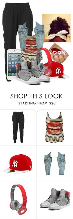 """>Kiss My Swag<"" by babygirl-10 ❤ liked on Polyvore featuring Won Hundred, Wet Seal, New Era, Monster and Supra"