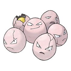 Exeggcute - 102 - Its six eggs converse using telepathy. They can quickly gather if they become sparated. Even though it appears to be eggs of some sort,  it was discovered to be a life-form more like  plant seeds.  @PokeMasters