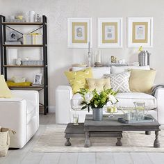 Dove grey living room with yellow cushions | Living room decorating