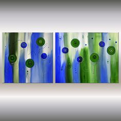 Acrylic colorful abstract flower painting  16x35 by EttisGallery, $199.00