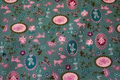 Stenzo15 7068-07 Cotton poplin popje/bloemetje/konijntje licht petrol/oudroze