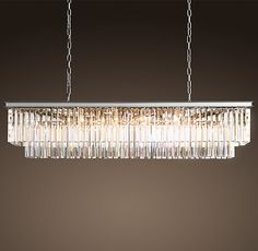 "1920s Odeon Clear Glass Fringe 59"" Rectangular Chandelier - Polished Nickel"