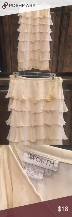 """Vintage Worth Silk Creamy White Long Skirt 8 Vintage Worth 100% Silk Flowy Long Skirt - Size 8 - layers of silk - side zip - measures: 28"""" waist x 35"""" Long - slight yellowing on front Worth Skirts Maxi"""