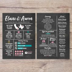 Chalkboard Wedding Program, Infographic Wedding Program, Unique Wedding Program, Non Traditional Wedding Program, Printable Wedding Program Printable Wedding Programs, Unique Wedding Programs, Nontraditional Wedding, Unique Weddings, Chalkboard Wedding, Chalkboard Ideas, Thank You Messages, Wedding Officiant, First Dates
