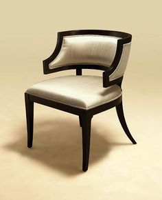 Ebony Finished Occasional Chair, Sterling Silver Silk - 4330-603