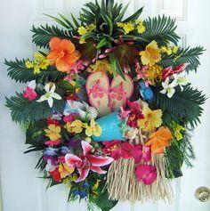 Sale, Tropical floral wreath, Luau wreath, Door wreath,  Summer wreath, pool decor, handmade wreath via Etsy