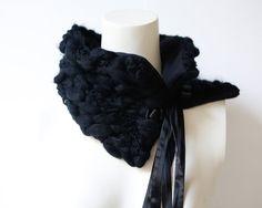 Textured Black Tie Scarflette Scarf Cowl by Felinus on Etsy