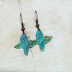 hand painted filigree butterfly patina earrings by LittleApples