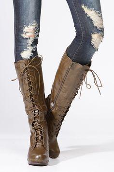 Lace Up Khaki Boot