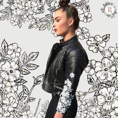 Female floral Ram biker jacket
