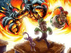 Mario And Luigi, Mario Bros, Super Smash Bros, Minecraft Posters, Super Mario 3d, Nintendo Sega, 90s Cartoons, Fantastic Art, Bowser