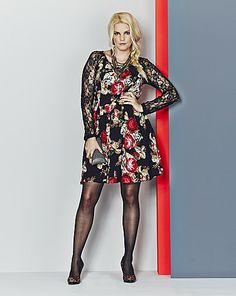 ROSE PRINTED DRESS WITH LACE SLEEVES PRODUCT CODE: RM679C9  was £45.00 SAVE £13.50 NOW £31.50 found at Simply Be