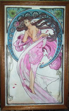 peinture soie, Mucha, la dance
