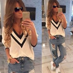 Sexy Women Loose V-Neck Long Sleeve Casual Evening Party T-Shirt Top Blouse S-XL