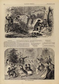 Christmas--Gathering Evergreens/The Christmas Tree, from Harper's Weekly, December 25, 1858, p. 820 by Winslow Homer / American Art