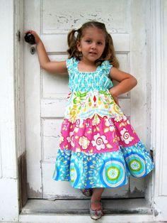 Caribbean Dream  Tiered Twirly Dress  by PalmTreePrincess on Etsy