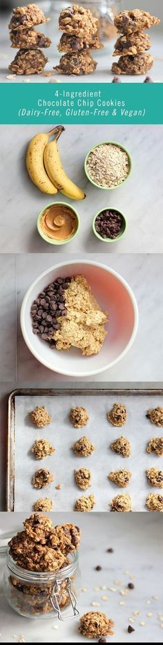 All you need to make these delicious Chocolate Chip Cookies are two bananas, some oats, some peanut butter, and a handful of chocolate chips. This cookie recipe is easy to execute and the final product is gluten-free, dairy-free, and vegan!