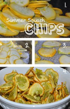 Taste of Summer in Yellow Squash Chips - The bounty of the garden always comes alive with the baskets of yellow summer squash making their way into my kitchen. I am always looking for new ways to work (Baking Squash Yellow) Canning Yellow Squash, Freezing Yellow Squash, Yellow Squash Chips, Yellow Squash Recipes, Canned Squash, Squash Food, Summer Squash Recipes, Dehydrated Vegetables, Dried Vegetables