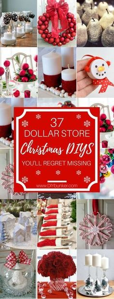 These 37 Dollar Store Christmas Decor Ideas Are AWESOME! I love all the cute centerpiece crafts! #christmasdecor #holidays #diy #christmas